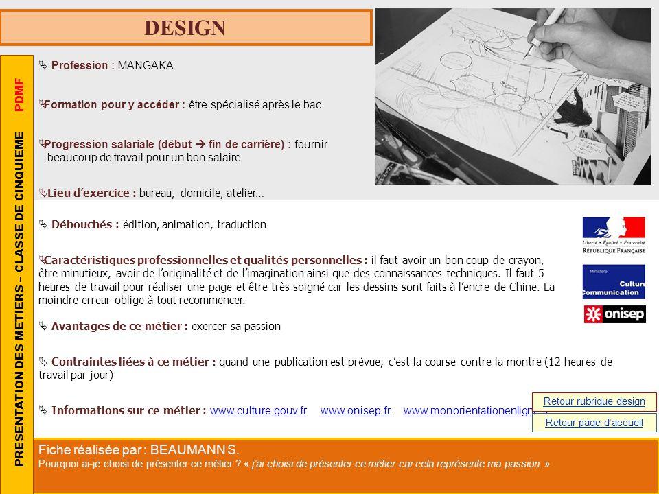 DESIGN Profession : MANGAKA Formation pour y accéder : être spécialisé après le bac Progression salariale (début fin de carrière) : fournir beaucoup d