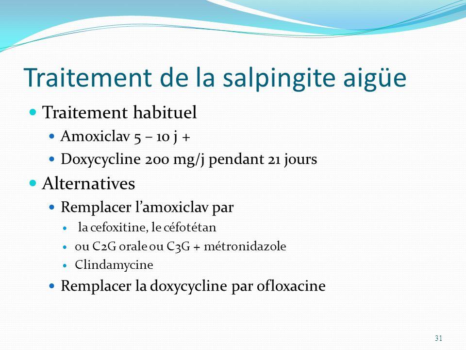 Traitement de la salpingite aigüe Traitement habituel Amoxiclav 5 – 10 j + Doxycycline 200 mg/j pendant 21 jours Alternatives Remplacer lamoxiclav par la cefoxitine, le céfotétan ou C2G orale ou C3G + métronidazole Clindamycine Remplacer la doxycycline par ofloxacine 31