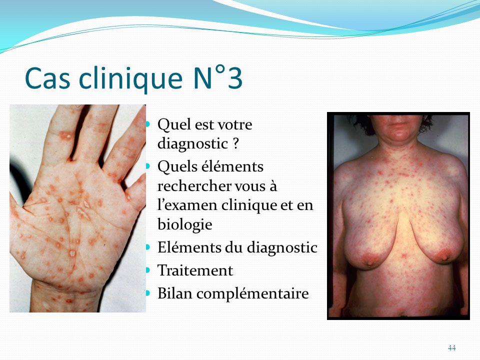 Cas clinique N°3 Quel est votre diagnostic ? Quels éléments rechercher vous à lexamen clinique et en biologie Eléments du diagnostic Traitement Bilan