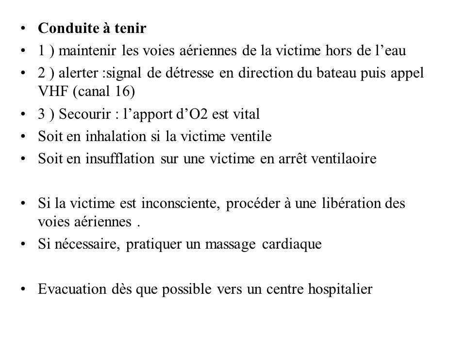 Conduite à tenir 1 ) maintenir les voies aériennes de la victime hors de leau 2 ) alerter :signal de détresse en direction du bateau puis appel VHF (c