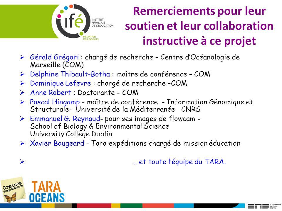 Remerciements pour leur soutien et leur collaboration instructive à ce projet Gérald Grégori : chargé de recherche – Centre dOcéanologie de Marseille