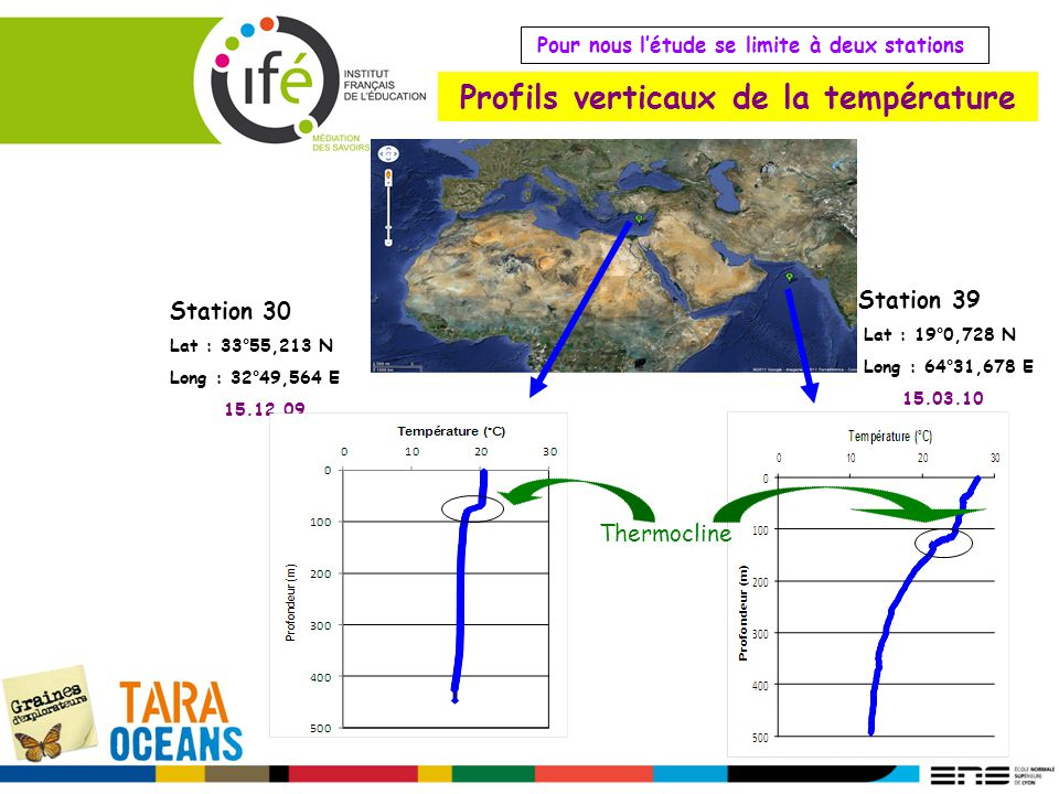 Profils verticaux de la température Station 30 Lat : 33°55,213 N Long : 32°49,564 E 15.12.09 Station 39 Lat : 19°0,728 N Long : 64°31,678 E 15.03.10 P
