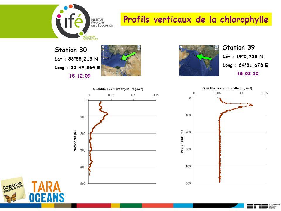 Profils verticaux de la chlorophylle Station 30 Lat : 33°55,213 N Long : 32°49,564 E 15.12.09 Station 39 Lat : 19°0,728 N Long : 64°31,678 E 15.03.10