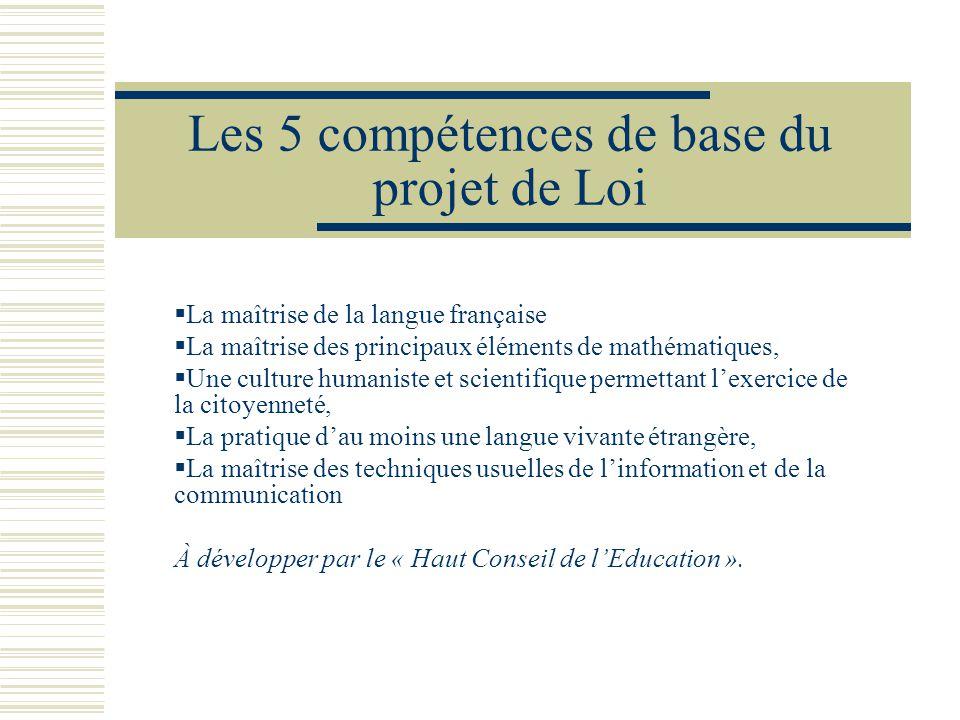 Les 5 compétences de base du projet de Loi La maîtrise de la langue française La maîtrise des principaux éléments de mathématiques, Une culture humani