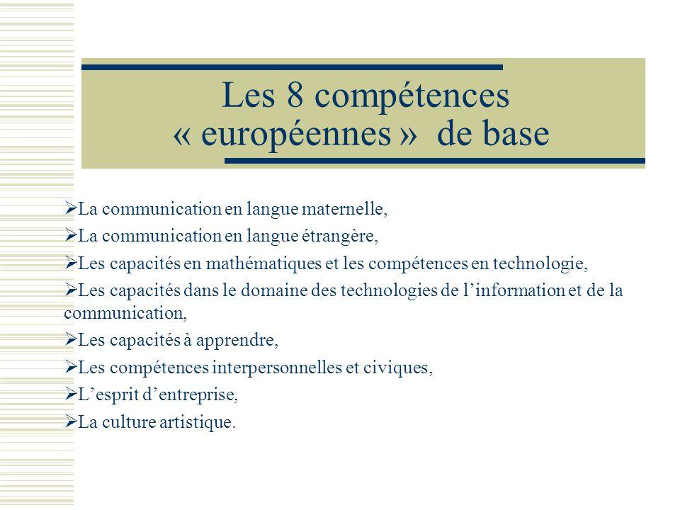 Les 8 compétences « européennes » de base La communication en langue maternelle, La communication en langue étrangère, Les capacités en mathématiques