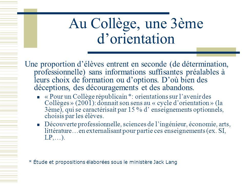 Au Collège, une 3ème dorientation Une proportion délèves entrent en seconde (de détermination, professionnelle) sans informations suffisantes préalabl