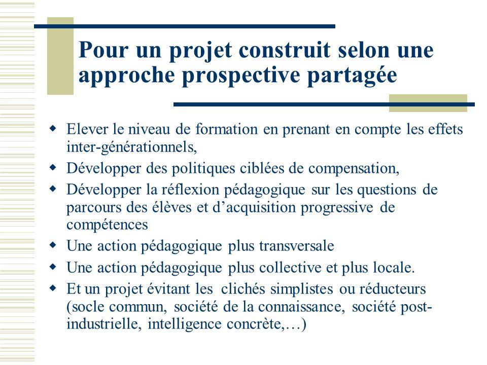 Pour un projet construit selon une approche prospective partagée Elever le niveau de formation en prenant en compte les effets inter-générationnels, D