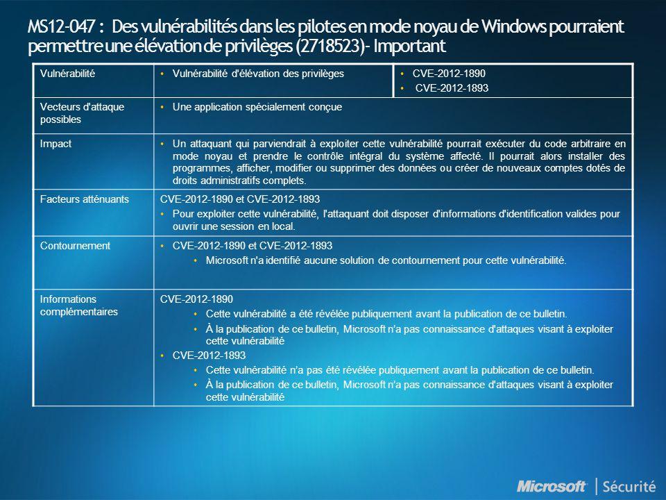 MS12-047 : Des vulnérabilités dans les pilotes en mode noyau de Windows pourraient permettre une élévation de privilèges (2718523)- Important VulnérabilitéVulnérabilité d élévation des privilègesCVE-2012-1890 CVE-2012-1893 Vecteurs d attaque possibles Une application spécialement conçue ImpactUn attaquant qui parviendrait à exploiter cette vulnérabilité pourrait exécuter du code arbitraire en mode noyau et prendre le contrôle intégral du système affecté.