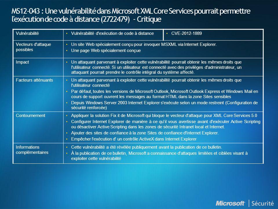 MS12-043 : Une vulnérabilité dans Microsoft XML Core Services pourrait permettre l exécution de code à distance (2722479) - Critique VulnérabilitéVulnérabilité d exécution de code à distanceCVE-2012-1889 Vecteurs d attaque possibles Un site Web spécialement conçu pour invoquer MSXML via Internet Explorer.