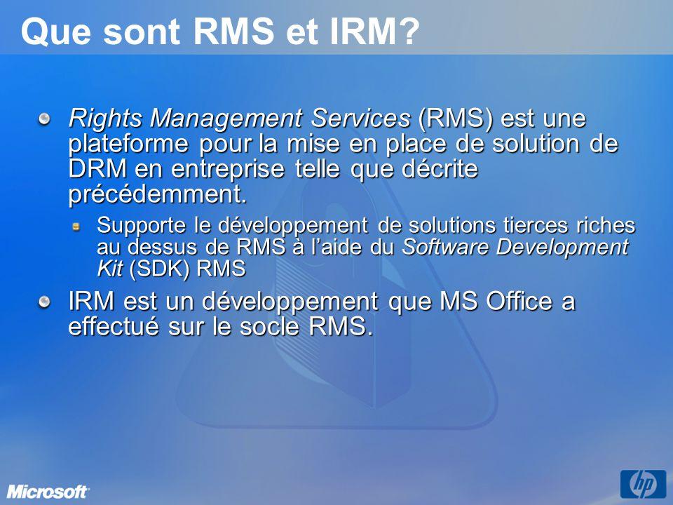 Que sont RMS et IRM? Rights Management Services (RMS) est une plateforme pour la mise en place de solution de DRM en entreprise telle que décrite préc