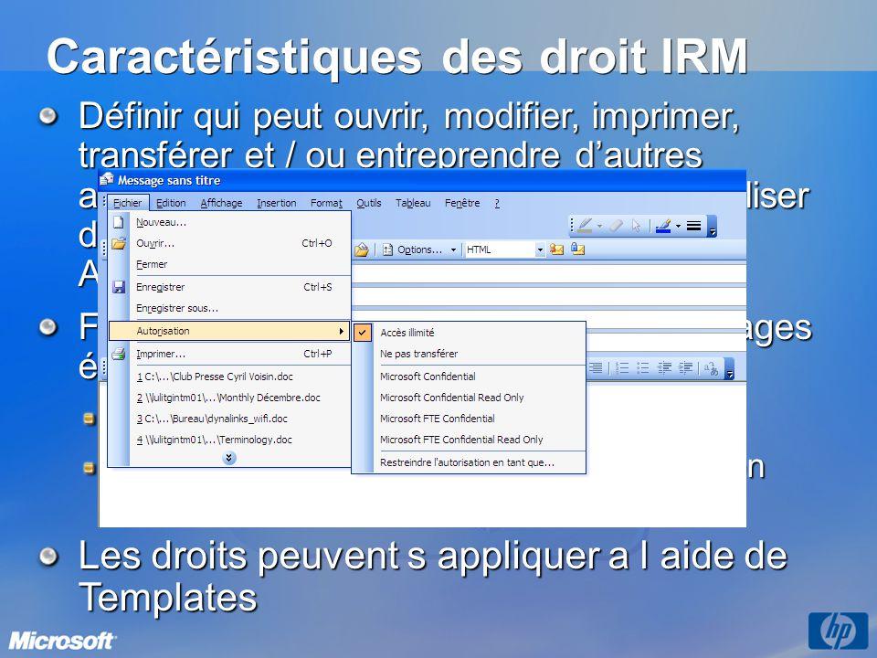 Caractéristiques des droit IRM Définir qui peut ouvrir, modifier, imprimer, transférer et / ou entreprendre dautres actions avec les données (possibil