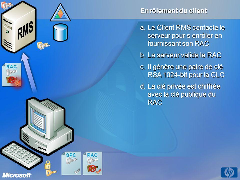 RAC Enrôlement du client a.Le Client RMS contacte le serveur pour s enrôler en fournissant son RAC c.Il génère une paire de clé RSA 1024-bit pour la C