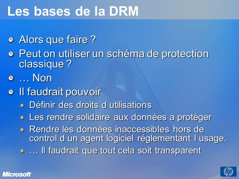 Les bases de la DRM Alors que faire ? Peut on utiliser un schéma de protection classique ? … Non Il faudrait pouvoir Définir des droits d utilisations