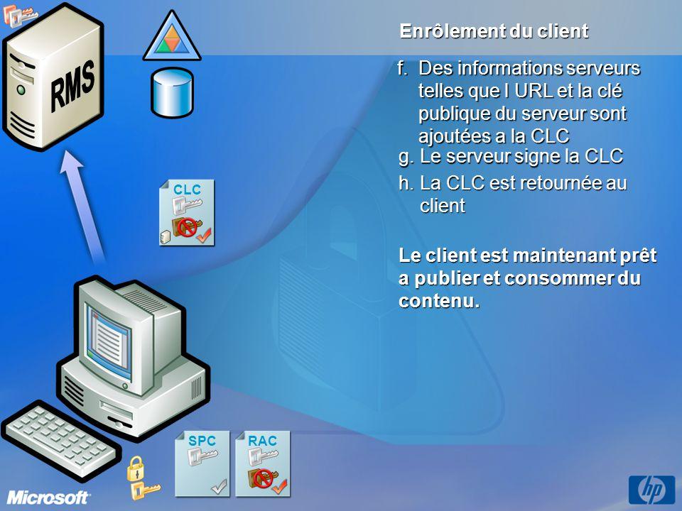 CLC Enrôlement du client g.Le serveur signe la CLC SPCRAC CLC h.La CLC est retournée au client Le client est maintenant prêt a publier et consommer du