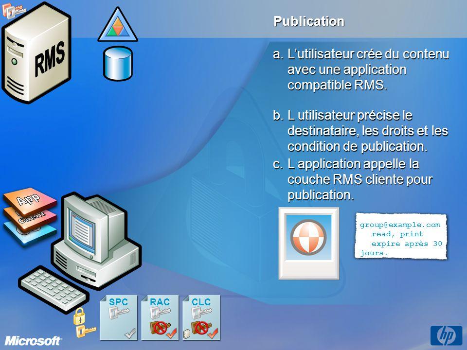 Publication a.Lutilisateur crée du contenu avec une application compatible RMS. c.L application appelle la couche RMS cliente pour publication. b.L ut