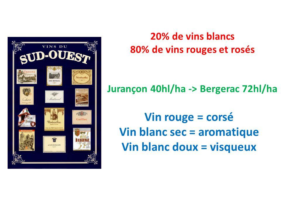 20% de vins blancs 80% de vins rouges et rosés Jurançon 40hl/ha -> Bergerac 72hl/ha Vin rouge = corsé Vin blanc sec = aromatique Vin blanc doux = visqueux Le Sud Ouest est la région française oú on trouve la plus grande variété de vins différents.