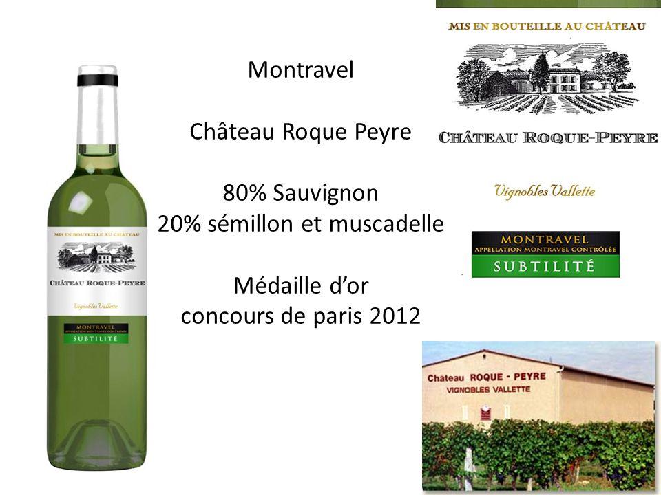 Montravel Château Roque Peyre 80% Sauvignon 20% sémillon et muscadelle Médaille dor concours de paris 2012