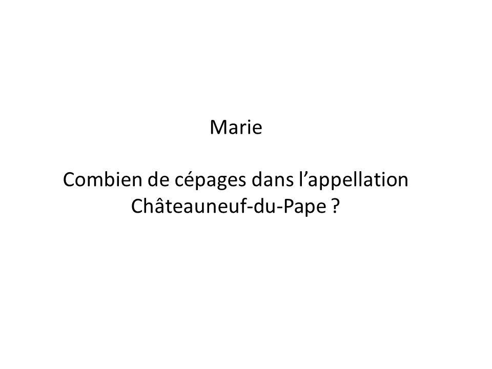 Marie Combien de cépages dans lappellation Châteauneuf-du-Pape ?