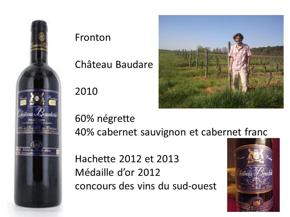 Fronton Château Baudare 2010 60% négrette 40% cabernet sauvignon et cabernet franc Hachette 2012 et 2013 Médaille dor 2012 concours des vins du sud-ouest