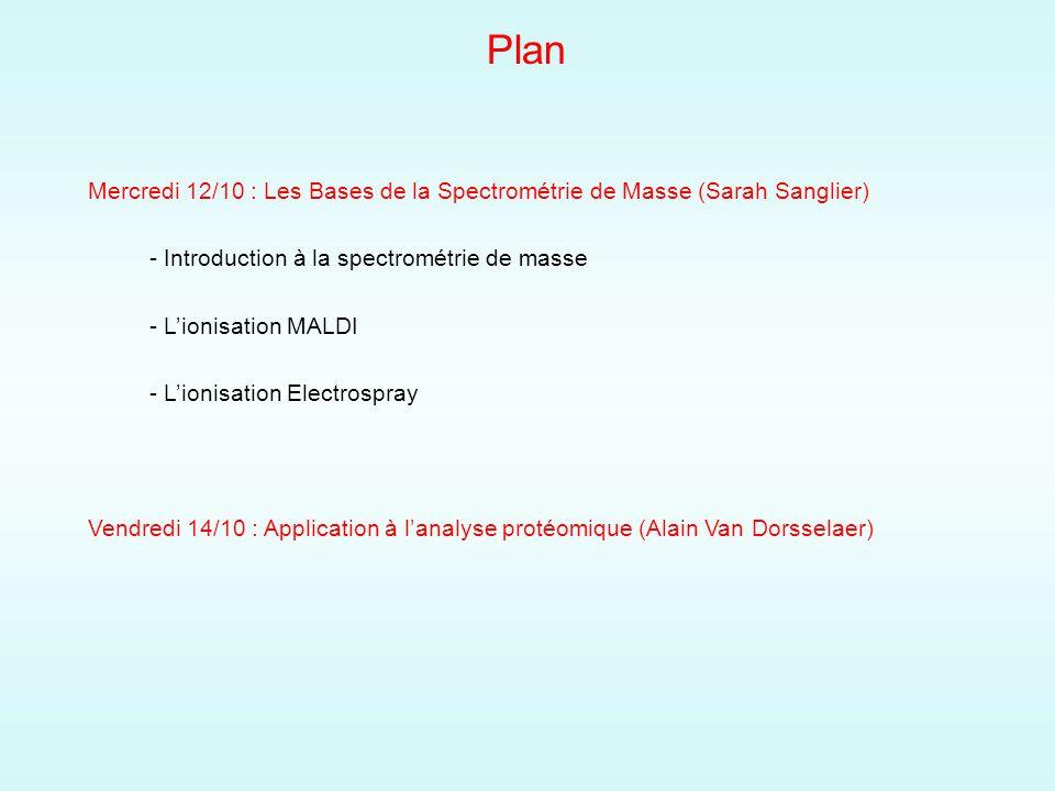 Plan Mercredi 12/10 : Les Bases de la Spectrométrie de Masse (Sarah Sanglier) - Introduction à la spectrométrie de masse - Lionisation MALDI - Lionisation Electrospray Vendredi 14/10 : Application à lanalyse protéomique (Alain Van Dorsselaer)