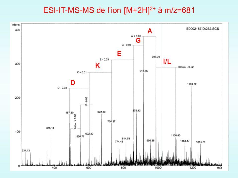 ESI-IT-MS-MS de lion [M+2H] 2+ à m/z=681 I/L A G E K D