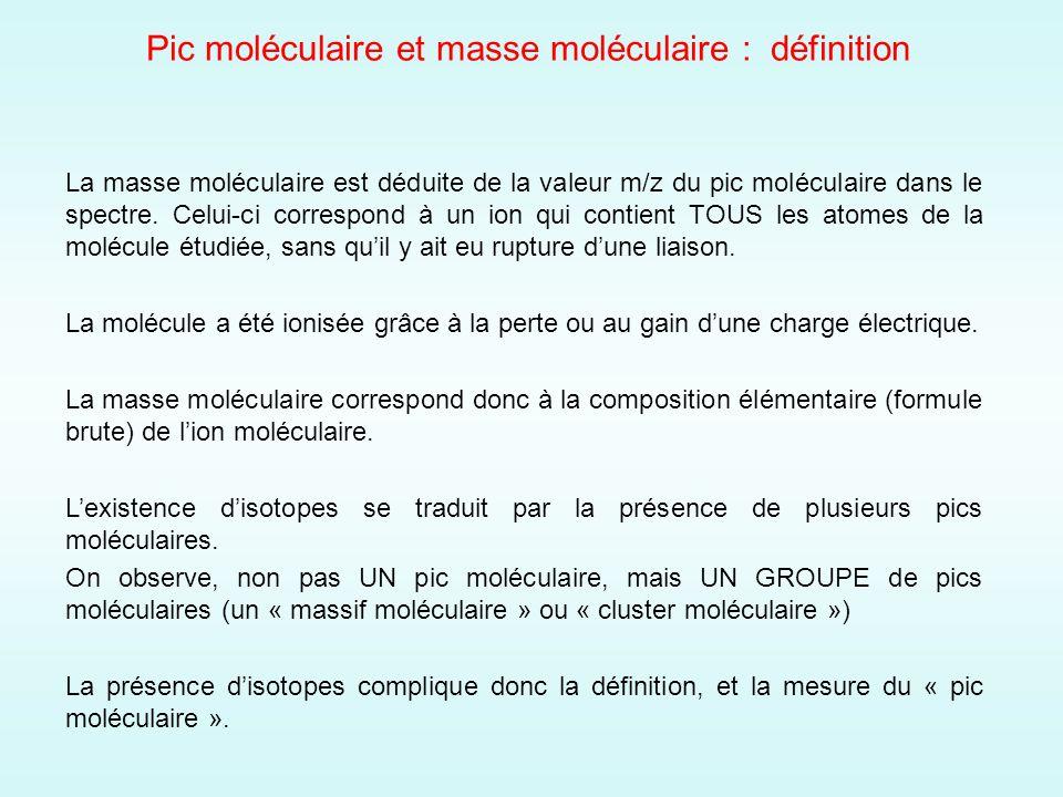 Pic moléculaire et masse moléculaire : définition La masse moléculaire est déduite de la valeur m/z du pic moléculaire dans le spectre.