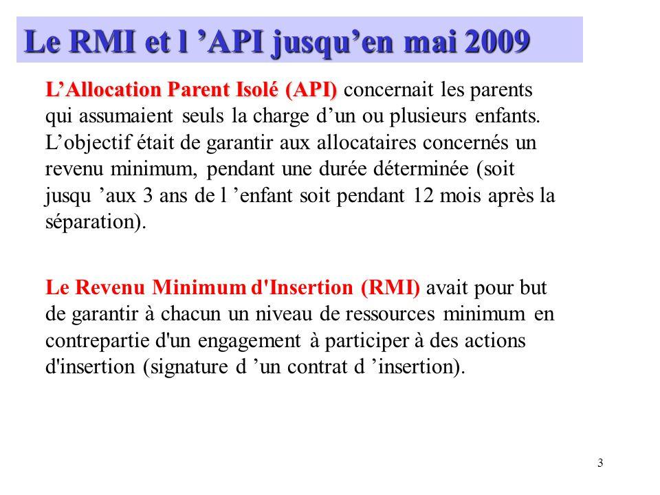 4 Nombre de bénéficiaires (droit payable) au 31Mai 2009 : API => 8673 bénéficiaires RMI => 51996 bénéficiaires Montants minima garantis pour une personne isolée avec un enfant à charge au 31Mai 2009: API => 778.40 RMI => 690.14