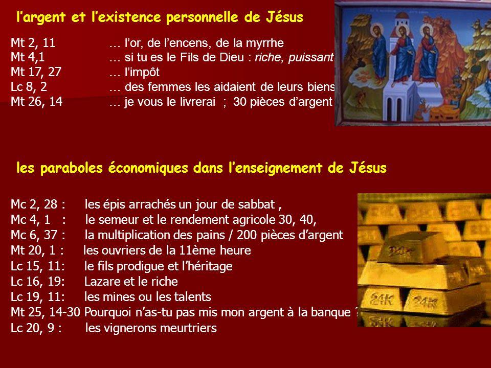 largent et lexistence personnelle de Jésus Mt 2, 11 … lor, de lencens, de la myrrhe Mt 4,1 … si tu es le Fils de Dieu : riche, puissant, Mt 17, 27 … limpôt Lc 8, 2 … des femmes les aidaient de leurs biens Mt 26, 14 … je vous le livrerai ; 30 pièces dargent les paraboles économiques dans lenseignement de Jésus Mc 2, 28 : les épis arrachés un jour de sabbat, Mc 4, 1 : le semeur et le rendement agricole 30, 40,00 pour un Mc 6, 37 : la multiplication des pains / 200 pièces dargent Mt 20, 1 : les ouvriers de la 11ème heure Lc 15, 11: le fils prodigue et lhéritage Lc 16, 19: Lazare et le riche Lc 19, 11: les mines ou les talents Mt 25, 14-30 Pourquoi nas-tu pas mis mon argent à la banque .
