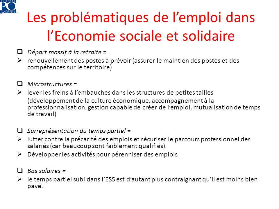 Les problématiques de lemploi dans lEconomie sociale et solidaire Départ massif à la retraite = renouvellement des postes à prévoir (assurer le mainti