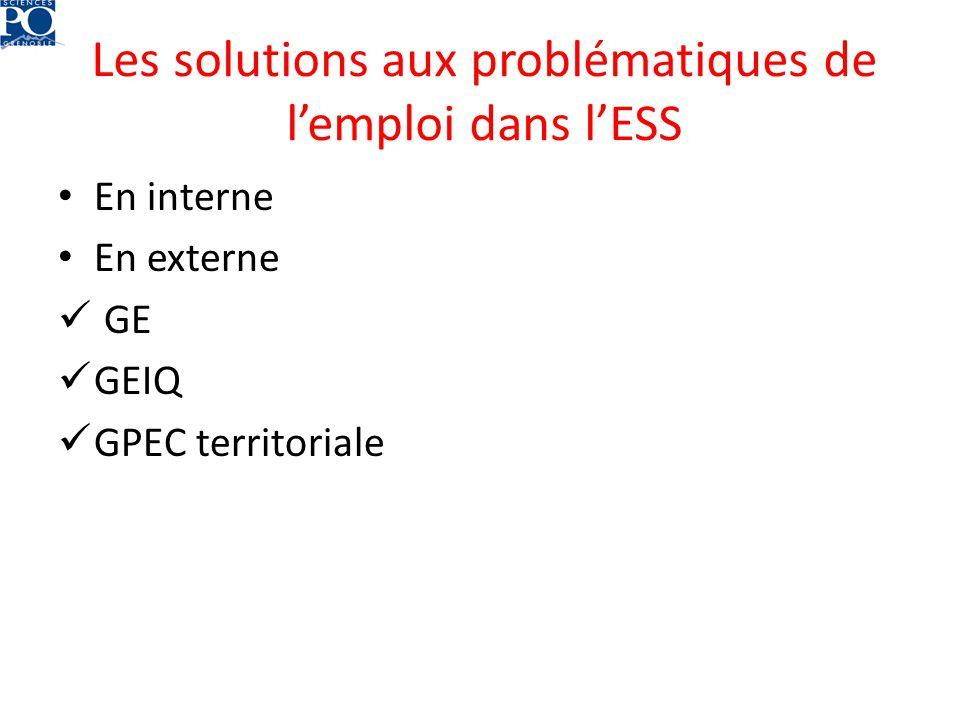 Les solutions aux problématiques de lemploi dans lESS En interne En externe GE GEIQ GPEC territoriale