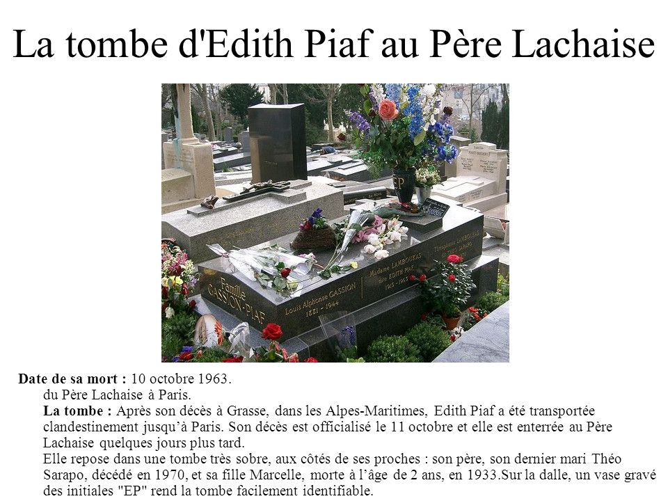 La tombe d'Edith Piaf au Père Lachaise Date de sa mort : 10 octobre 1963. du Père Lachaise à Paris. La tombe : Après son décès à Grasse, dans les Alpe