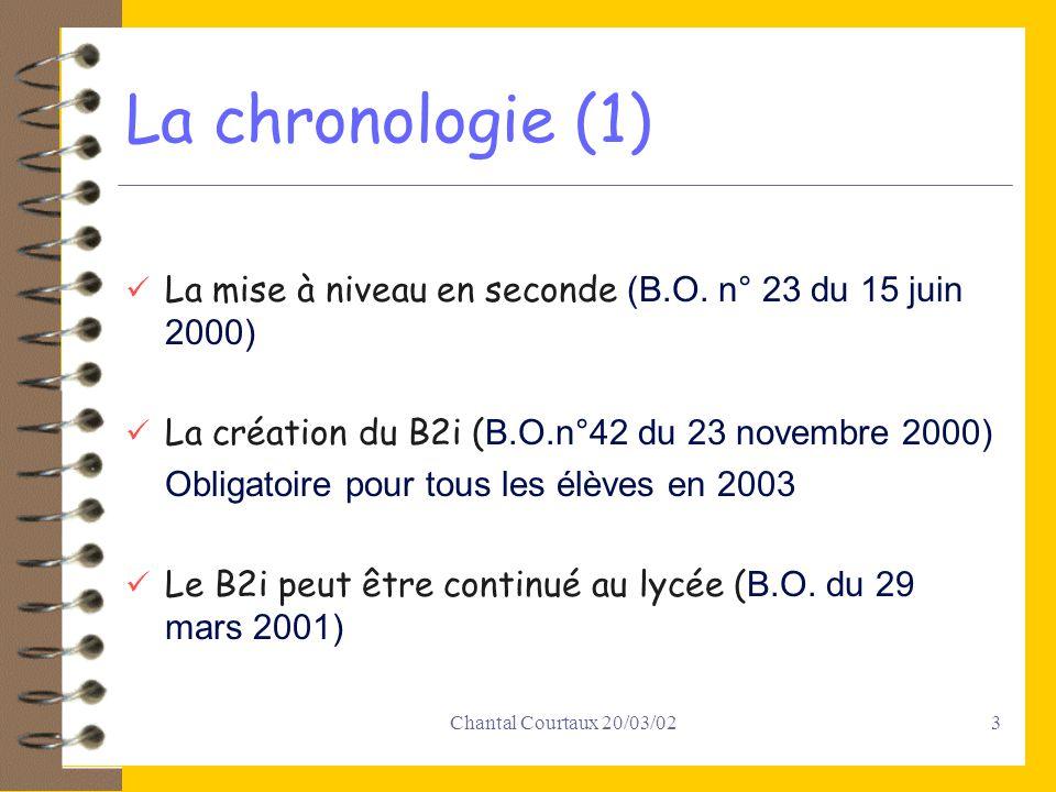 Chantal Courtaux 20/03/024 La chronologie (2) Lobtention du B2i au collège dispense de la mise à niveau en seconde ( B.O.n°24 du 14 juin 2001) La création dun B2i GRETA ( B.O.n°31 du 30 août 2001) En projet un B2i universités