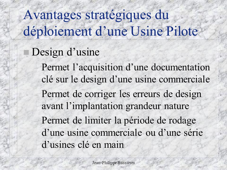 Jean-Philippe Bussières Avantages stratégiques du déploiement dune Usine Pilote n Design dusine – Permet lacquisition dune documentation clé sur le de