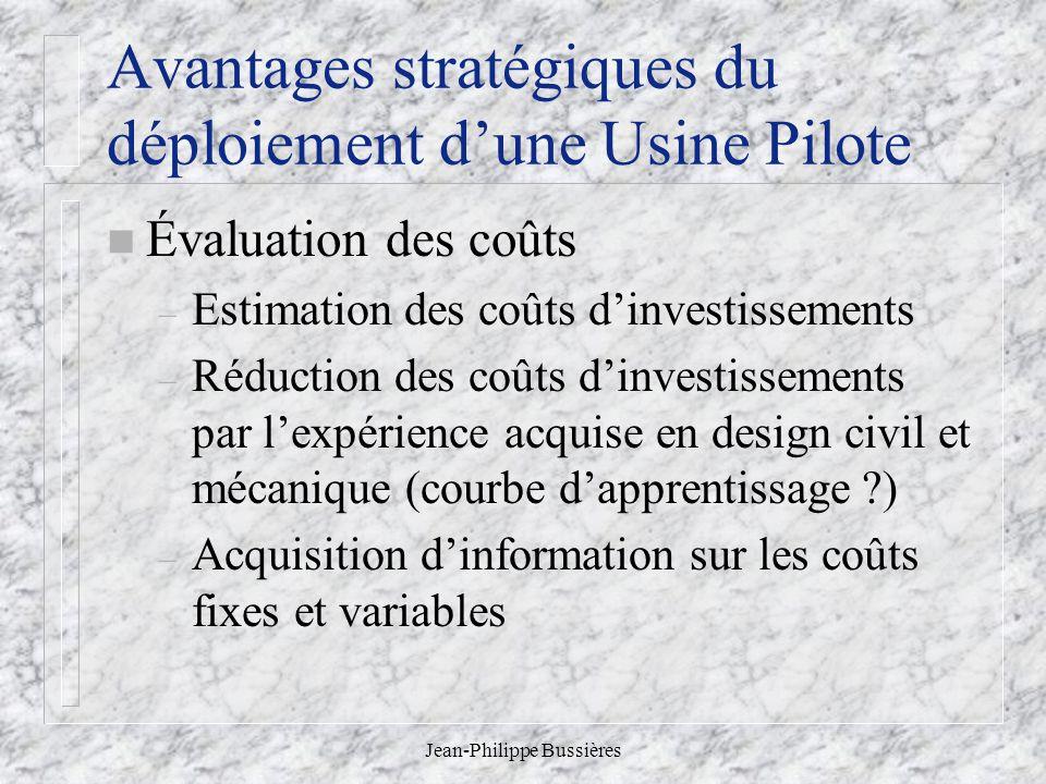 Jean-Philippe Bussières Avantages stratégiques du déploiement dune Usine Pilote n Évaluation des coûts – Estimation des coûts dinvestissements – Réduc