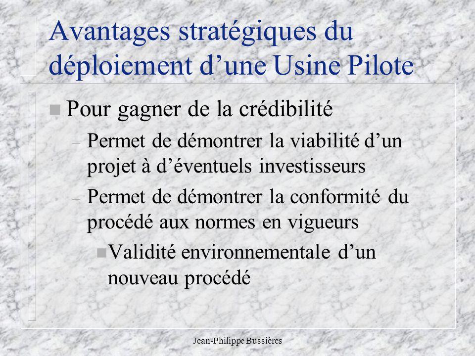 Jean-Philippe Bussières Avantages stratégiques du déploiement dune Usine Pilote n Pour gagner de la crédibilité – Permet de démontrer la viabilité dun