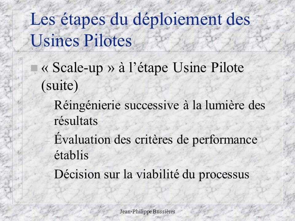 Jean-Philippe Bussières Les étapes du déploiement des Usines Pilotes n « Scale-up » à létape Usine Pilote (suite) – Réingénierie successive à la lumière des résultats – Évaluation des critères de performance établis – Décision sur la viabilité du processus