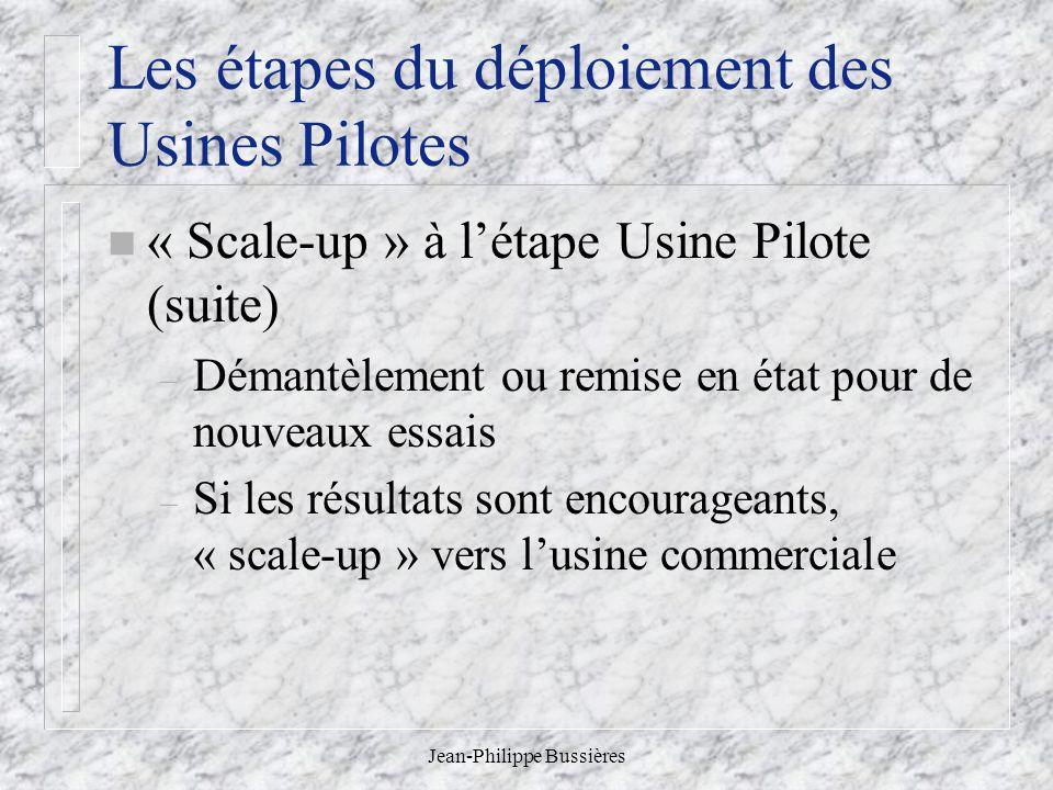 Jean-Philippe Bussières Les étapes du déploiement des Usines Pilotes n « Scale-up » à létape Usine Pilote (suite) – Démantèlement ou remise en état pour de nouveaux essais – Si les résultats sont encourageants, « scale-up » vers lusine commerciale