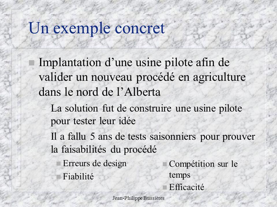 Jean-Philippe Bussières Un exemple concret n Implantation dune usine pilote afin de valider un nouveau procédé en agriculture dans le nord de lAlberta