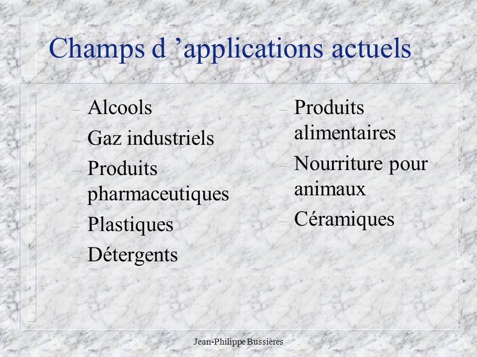 Jean-Philippe Bussières Champs d applications actuels – Alcools – Gaz industriels – Produits pharmaceutiques – Plastiques – Détergents – Produits alim