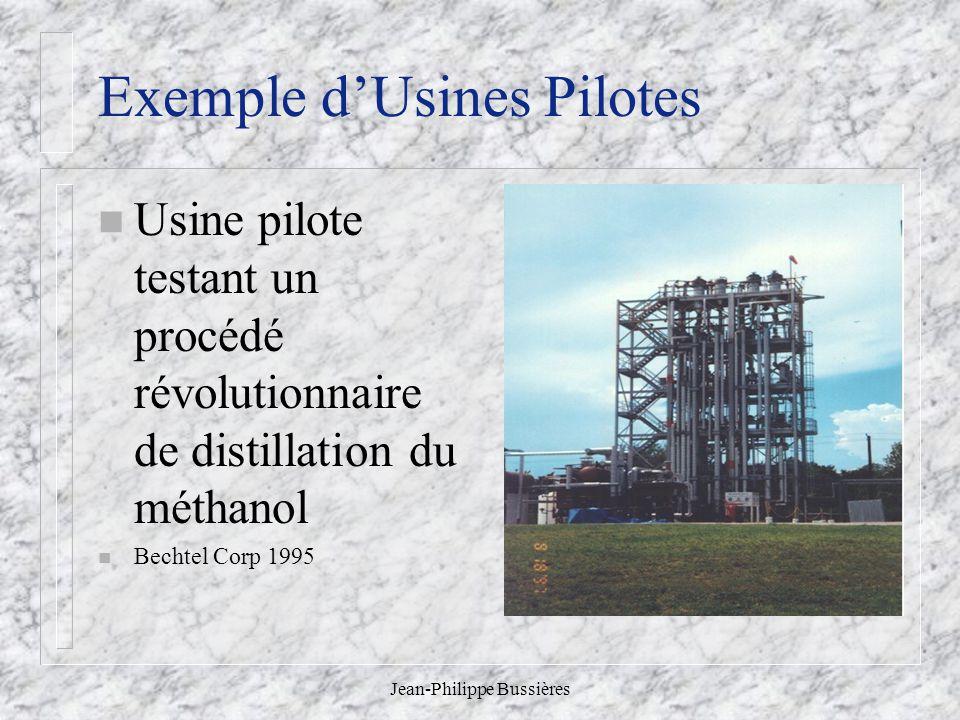 Jean-Philippe Bussières Exemple dUsines Pilotes n Usine pilote testant un procédé révolutionnaire de distillation du méthanol n Bechtel Corp 1995