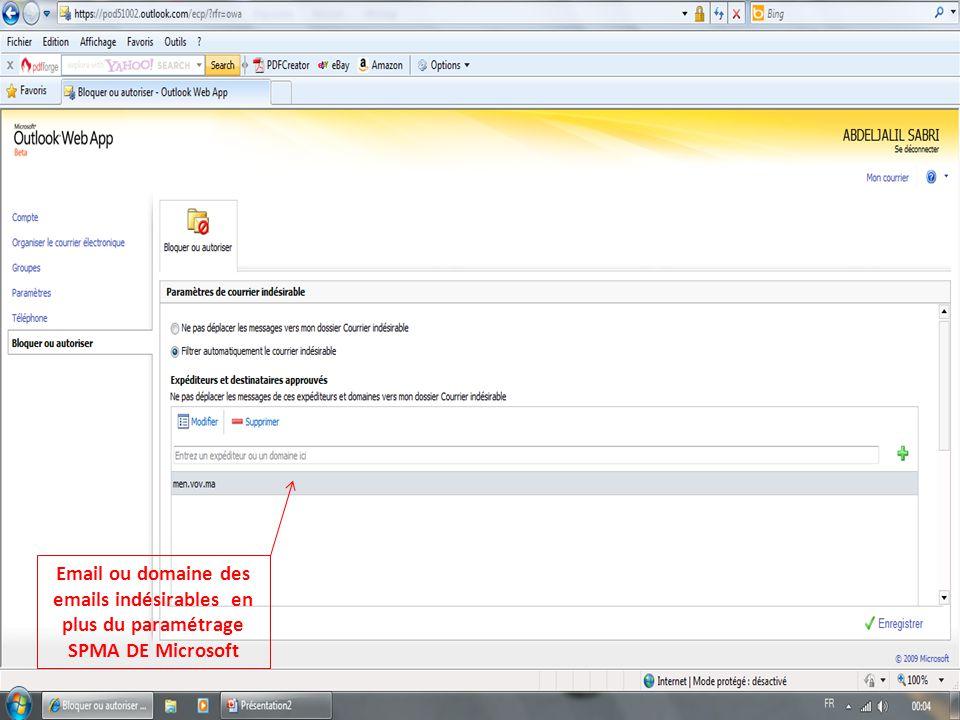 Email ou domaine des emails indésirables en plus du paramétrage SPMA DE Microsoft