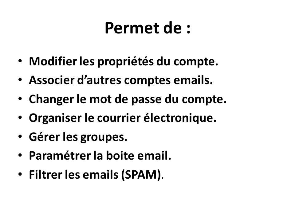 Permet de : Modifier les propriétés du compte.Associer dautres comptes emails.