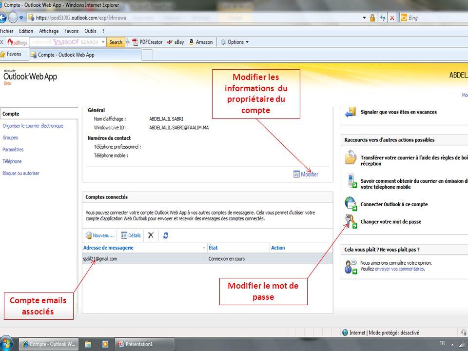 Compte emails associés Modifier le mot de passe Modifier les informations du propriétaire du compte