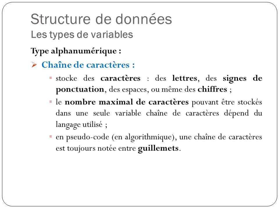 Structure de données Les types de variables Type alphanumérique : Chaîne de caractères : stocke des caractères : des lettres, des signes de ponctuatio