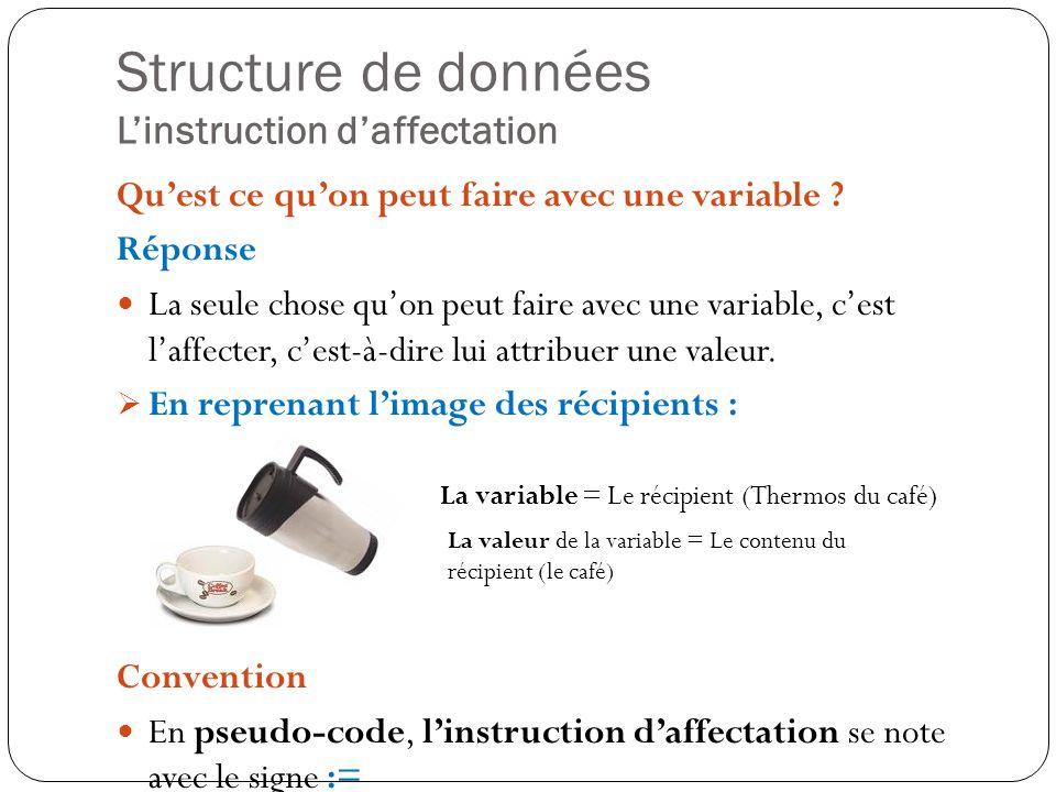 Structure de données Linstruction daffectation Quest ce quon peut faire avec une variable ? Réponse La seule chose quon peut faire avec une variable,
