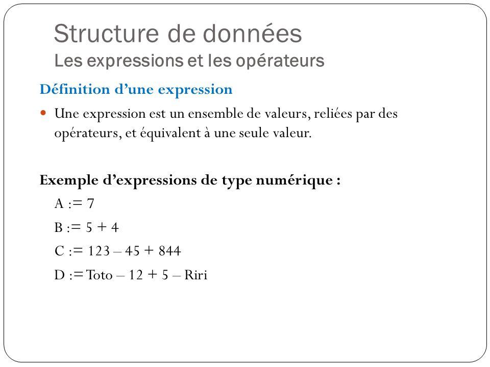 Structure de données Les expressions et les opérateurs Définition dune expression Une expression est un ensemble de valeurs, reliées par des opérateur