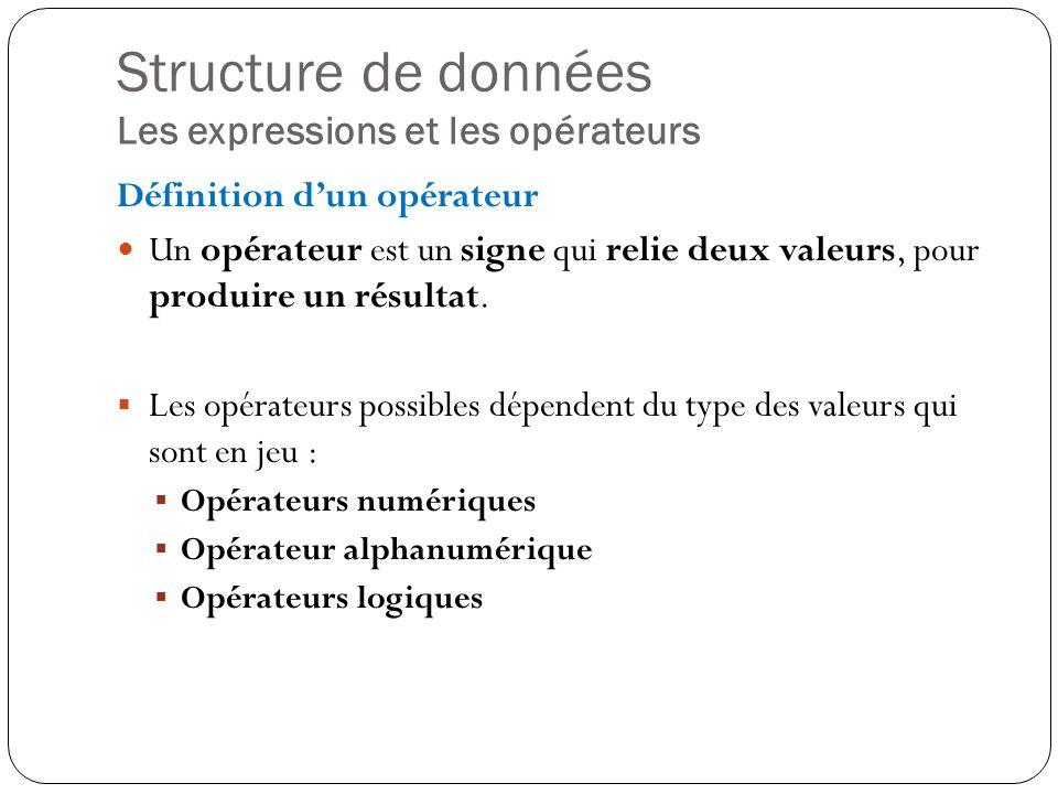 Structure de données Les expressions et les opérateurs Définition dun opérateur Un opérateur est un signe qui relie deux valeurs, pour produire un rés