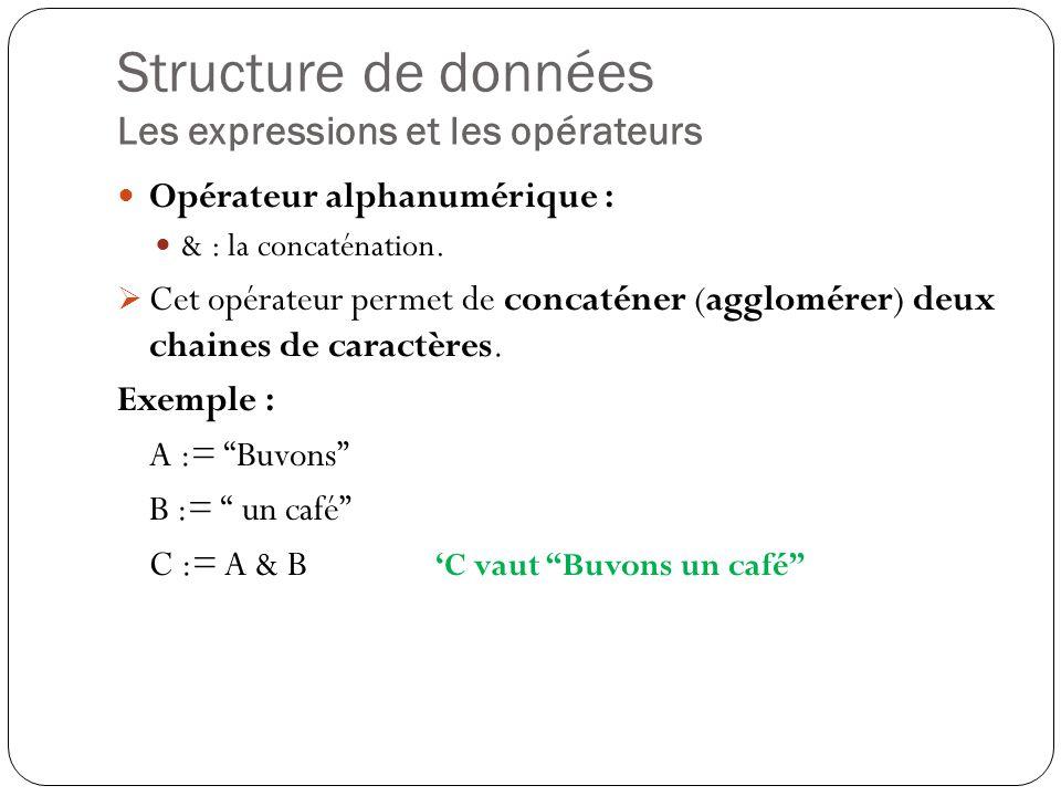 Structure de données Les expressions et les opérateurs Opérateur alphanumérique : & : la concaténation. Cet opérateur permet de concaténer (agglomérer