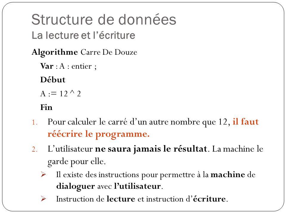 Structure de données La lecture et lécriture Algorithme Carre De Douze Var : A : entier ; Début A := 12 ^ 2 Fin 1. Pour calculer le carré dun autre no