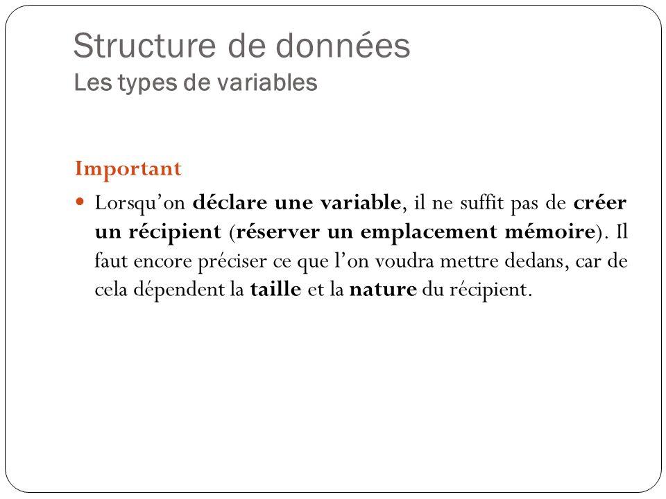 Structure de données Les types de variables Les types de variables les plus courants en algorithmique: Type numérique Entier Réel Type alphanumérique Chaine de caractères Type booléen Booléen